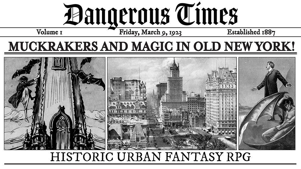 "An imaginary newspaper. The headline reads ""Muckrakers and Magic in New York"""